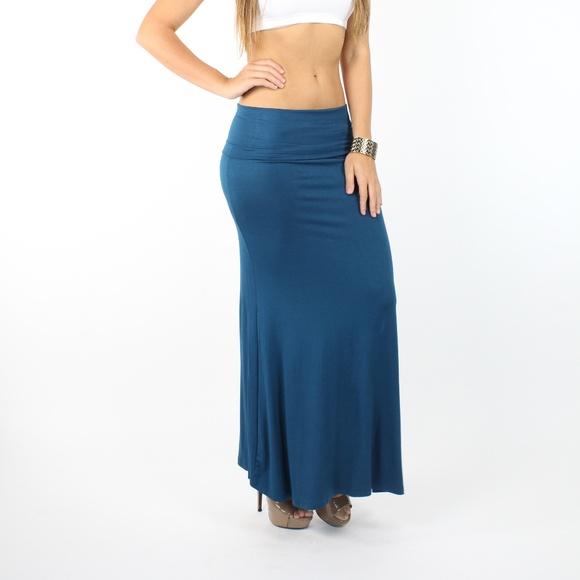 5732451468d4 Skirts | Teal High Band Fold Over High Waist Long Skirt | Poshmark